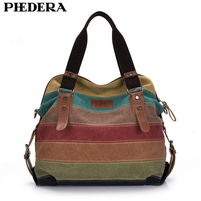 Fashion Canvas Bag Brand for Women, Patchwork Casual Handbags, Shoulder, Messenger Bag