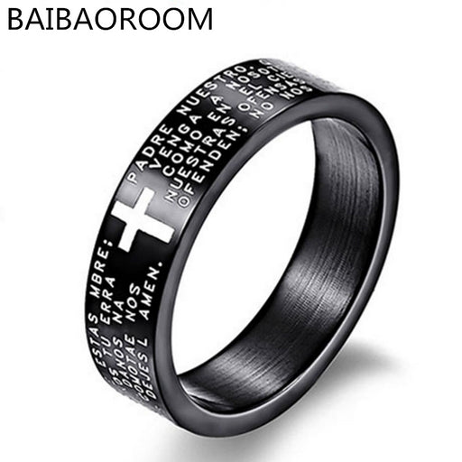Fashion Scripture Cross Bible Text Jesus Tattoo Rings For Men & Women, Titanium Steel Jewelry Gift