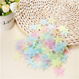 100pcs. 3D Stars Glow in the Dark Luminous on Wall Stickers for Kids Room