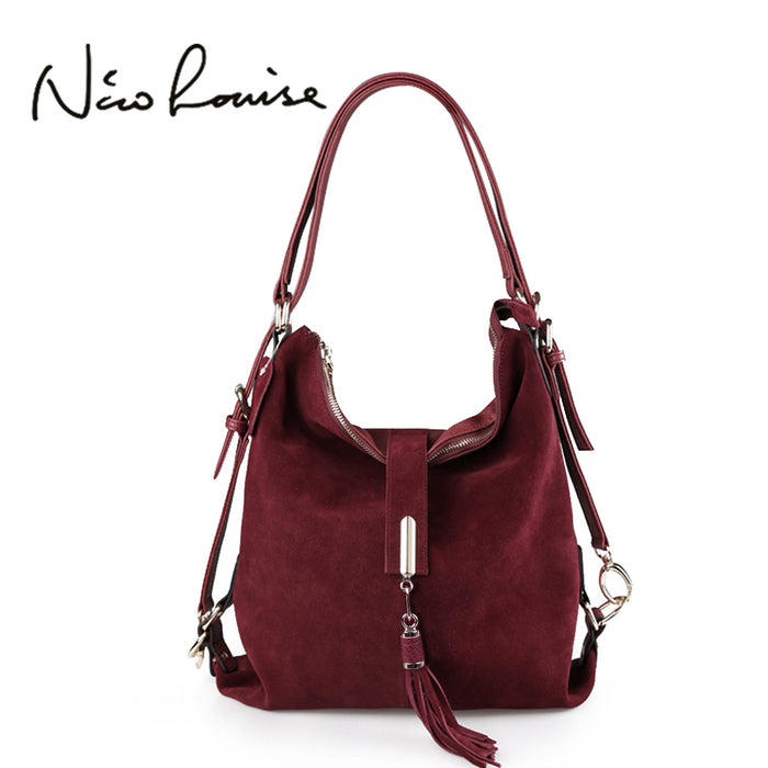 Nico Louise Women's Real Split Suede Leather Shoulder Bag ,Casual Handbag, Hobo Messenger, Top-handle