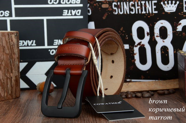 COWATHER Men's Belt, High Quality Cow Genuine Leather w/ Fashion Strap & Black Buckle - XF010