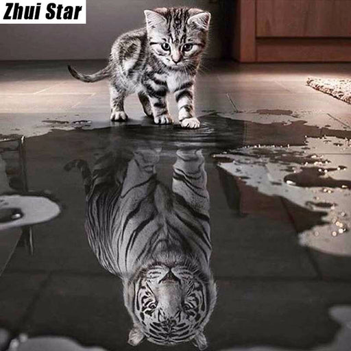 Full Square 5D DIY Diamond Painting, Cat Tiger Animal, Crystal Embroidery, Cross Stitch, Mosaic Painting Decor Gift VIP