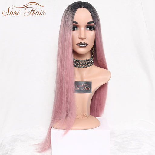 Suri Hair Long Straight Ombre Pink, Heat Resistant, Synthetic Two Tone Wigs For Women 30 Inch