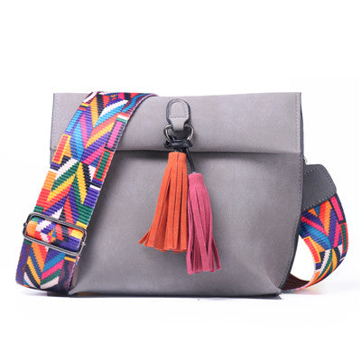 Vintage Tassel Women's Shoulder Bags w/ Colorful Strap Handbag, Solid Women Flap Messenger Bags