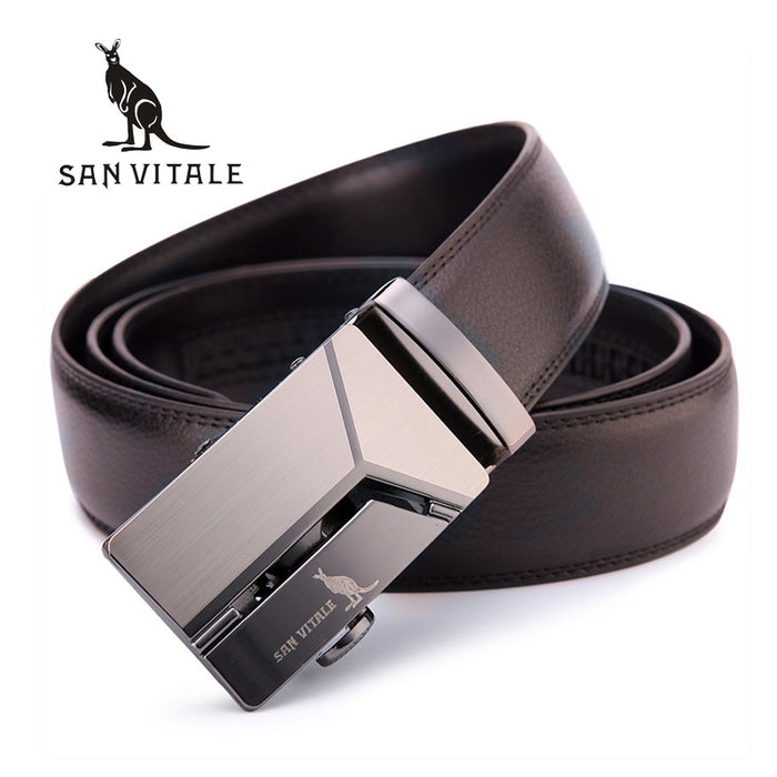 Men's Genuine Leather Belt with Luxury Strap and Vintage Buckle Belt for Jeans