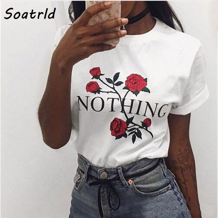 Nothing Letter Rose Print Harajuku T-Shirts Women 2017 New Summer Short Sleeve Casual Clothing Punk Tee Tops