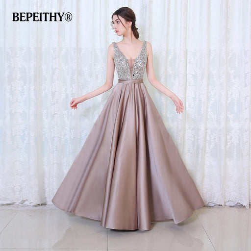BEPEITHY V-Neck Beads Bodice Open Back A Line Long Evening Dress Party Elegant Prom Gowns