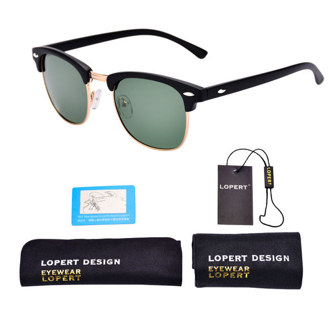 LOPERT Retro Rivet Polarized Sunglasses Unisex Classic, Square Style, UV400 Gradient Mirror & Plastic Frame