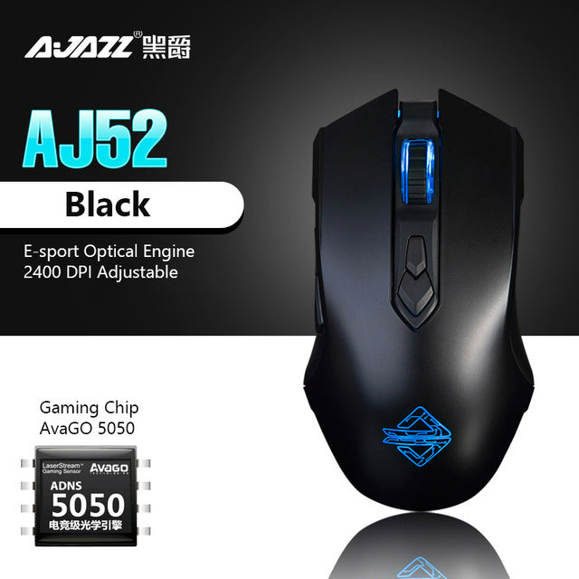Ajazz Gaming Mouse Mechanical 8 Key 2400 DPI LED Wired Mice for PC Computer Desktop Laptop E-sport Gamer Programmable Mouse
