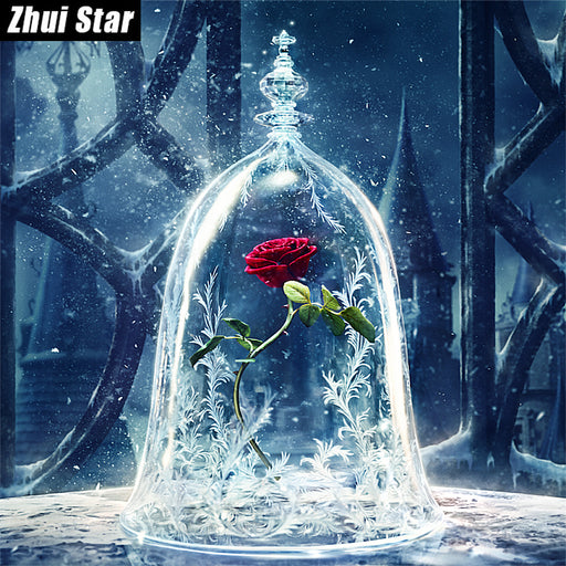 "Full Square 5D DIY Diamond Painting ""Red Rose Flower"" Embroidery Cross Stitch, Rhinestone Mosaic Painting, Home Decor"