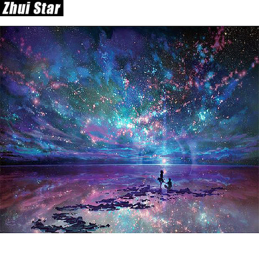 "Full Square 5D DIY Diamond Painting ""Fantasy Star Ocean"" Embroidery, Cross Stitch, Rhinestone Mosaic Painting Decor Gift"