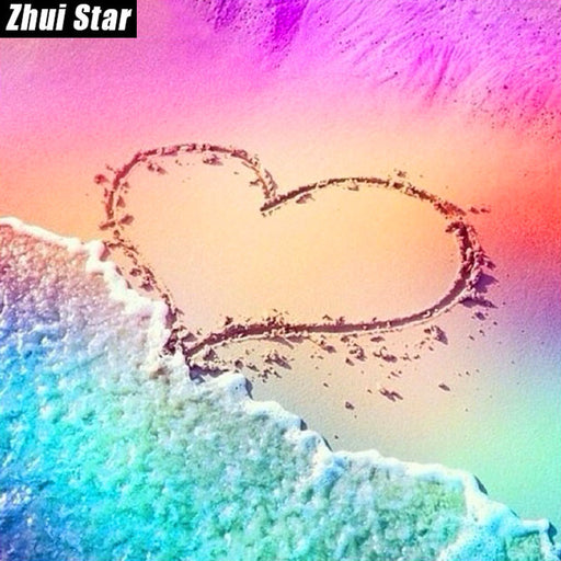 "Zhui Star Full Square Diamond 5D DIY Diamond Painting ""Love the Beach"" Embroidery Cross Stitch Mosaic Home Decor"