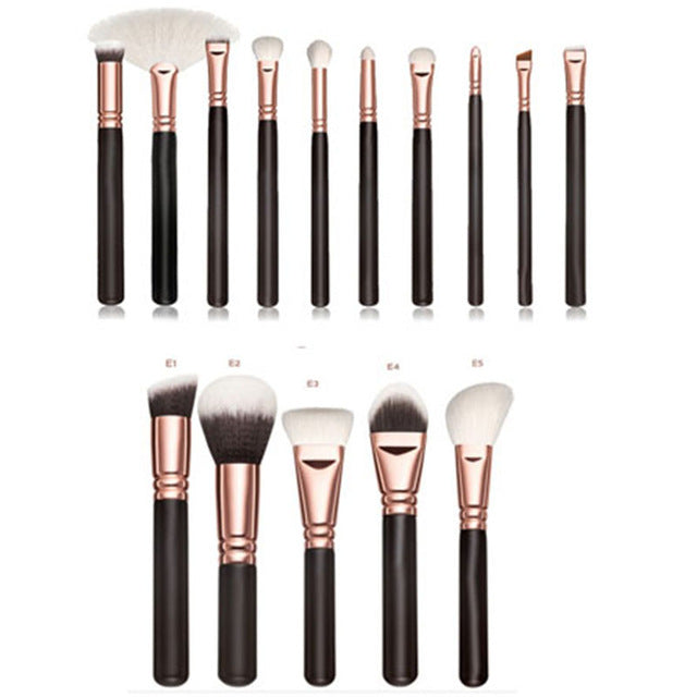 15pcs Pink Makeup Brushes Set, Powder Eye Kabuki Brush, Complete Kit Cosmetics Beauty Tools with Leather Case