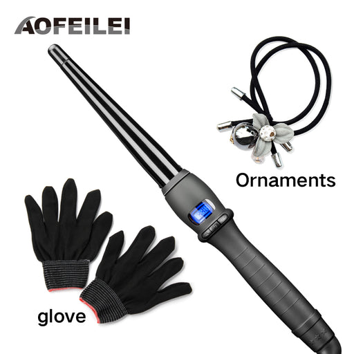 [AOFEILEI] Ceramic Styling Tools Professional Hair Curling Iron, Hair Waver Pear Flower Cone Electric Hair Curler Roller Curling Wand