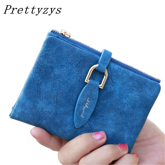 [ Prettyzys ]  Lady Snap Fastener Short Clutch Wallet w/ Vintage Matte, Card Holder