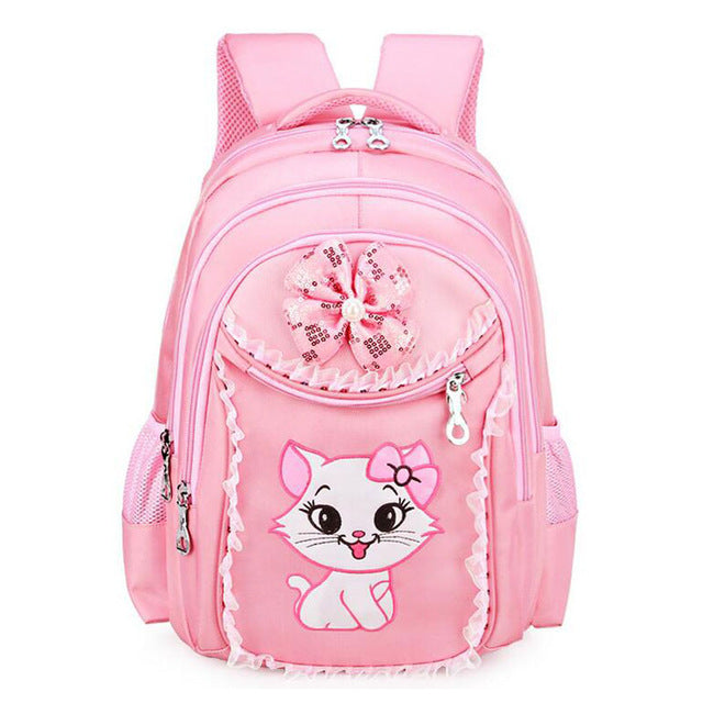 Sweet Cat Girl's School Bags with Cartoon Pattern Design, Kid's School Backpack for Girls