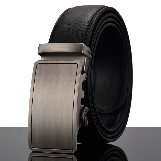 WOWTIGER Fashion Designers Men's Automatic Buckle Leather Luxury Belts, Alloy Buckle Belts for Men (100-130cm)