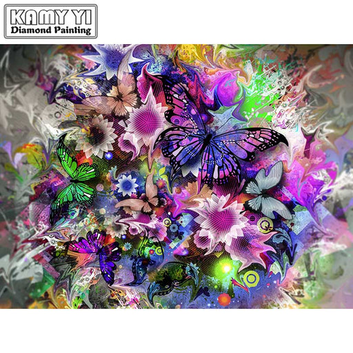 "Full Drill Square 5D DIY Diamond Painting""Pretty butterfly"", Diamond Embroidery, Cross Stitch, Rhinestone Mosaic Painting"