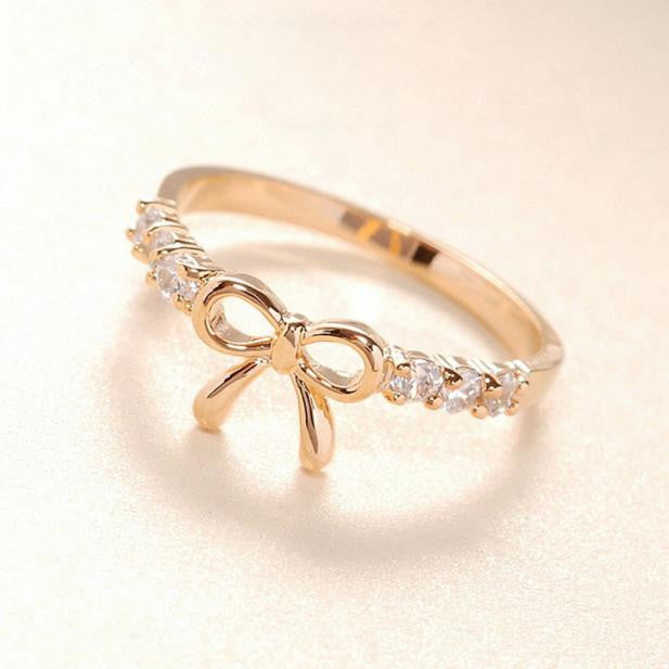 Korean Jewelry Simple Crystal Bow Ring GD