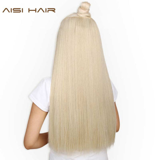 [ AISI HAIR]  22 inch Long Straight Women Clip in Hair Extension, Black/ Brown, Heat Resistant Synthetic Hairpiece