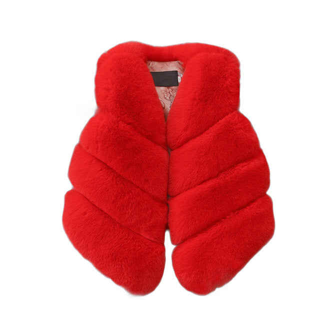 Kids Girls Artificial Fur Vest Coats for Winter Warm , Sleeveless Jacket Outerwear For 1-7 Years Child
