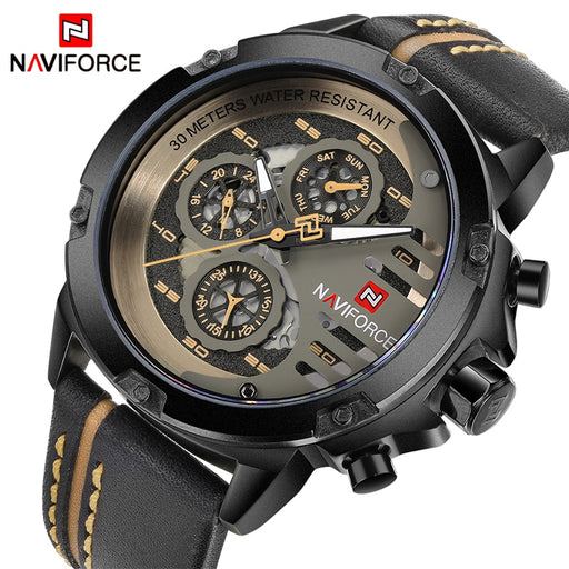 NAVIFORCE Men's Watches Top Brand Luxury, Waterproof, 24 hour Date, Quartz Watch, Leather, Sport Wrist Watch, Waterproof