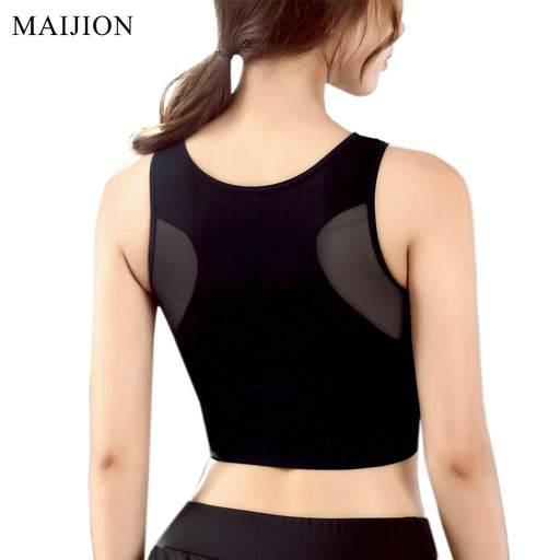 MAIJION Women's Breathable Mesh Sports Bras, Shockproof, Padded, Athletic, Gym Running Bra Solid Seamless Fitness Yoga Sport Tops Vest