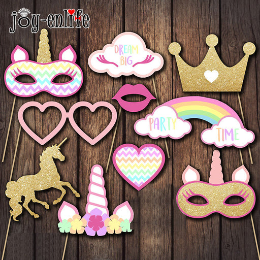 1 Set Unicorn Party Photo Booth Props Rainbow Unicornio One 1st First Birthday Party Decoration Eenhoorn Party Favor Supplies