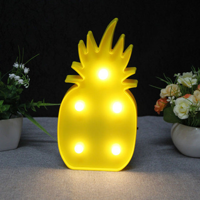 Flamingo Led Night Light Cartoon Unicorn Head Pineaapple Lantern Christmas Wedding Decoration Tropical Party supplies
