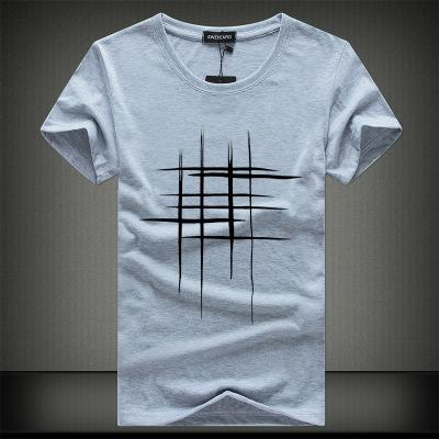 SWENEARO Line Cross Print Men's T-Shirts (100% Cotton)
