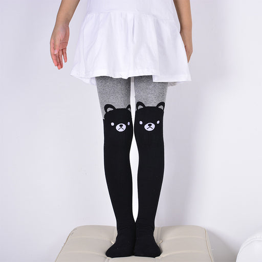DreamShining Spring Baby Girls Tights Cartoon Cat Patchwork Children Girl Pantyhose Stockings Soft Cotton Kids Warm Tights