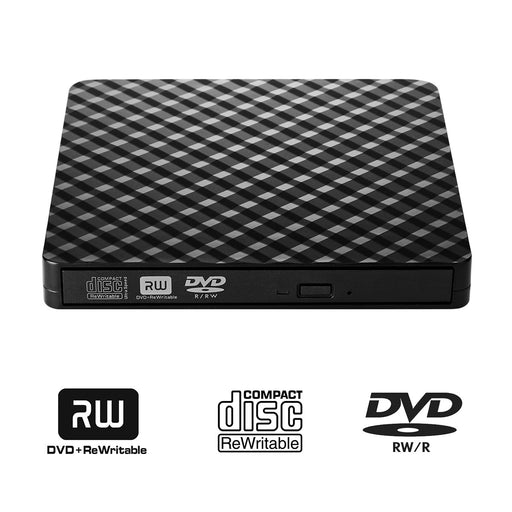 Protable USB 3.0 External DVD Drive CD/DVD-RW Drive Writer / Burner High Speed Data Transfer for Laptop Notebook PC Desktop Support Windows XP/Vista/7/8/10 Mac OSX
