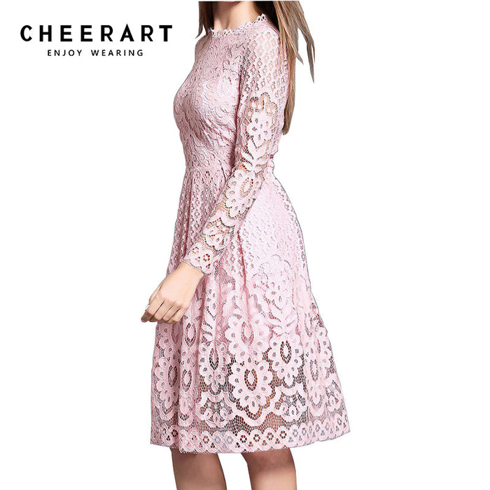 Cheerart High Quality Women Bohemian White Lace Autumn Crochet Casual Long Sleeve Plus Size
