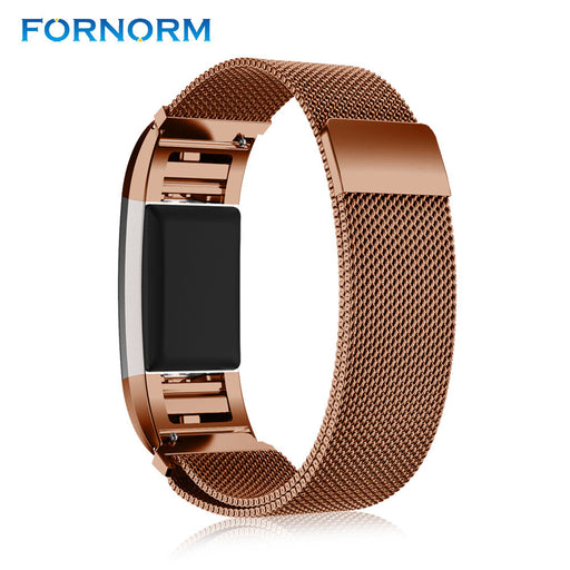 Fornorm Magnetic Lock Strap Fabulous Stainless Steel Metal Watch Wrist Band Strap for Fitbit Charge 2