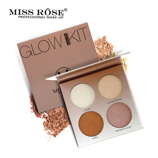 Miss Rose 4 Colors Brighten Base Makeup Glow Kit, Palette Highlighter, Makeup Illuminator, 30g