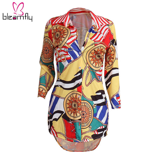 Autumn Women Tunic Tops Sexy V-Neck Elegant Shirt Floral Print Blouses & Shirts Ladies Casual Long Sleeve Vintage Boho Tops