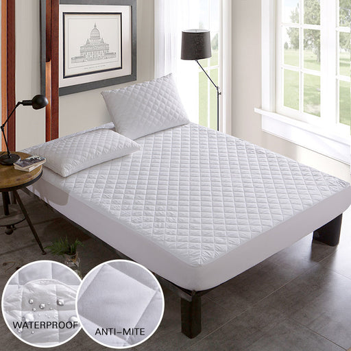 Brushed Fabric Quilted Bed Waterproof Cover Waterproof Knitting Mattress Protector Cover For Bed Wetting Anti-mite