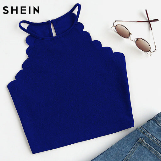 SHEIN Crop Tops Women 2017 Solid Blue Scallop Trim Halter Top Summer Women's Sleeveless Camisole Women Sexy Top