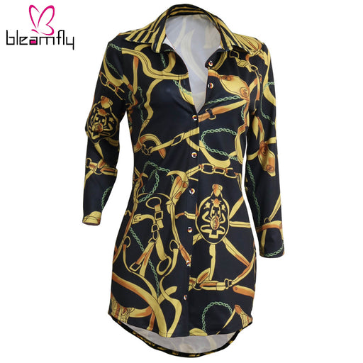 Autumn Winter Fashion Blouse Shirt For Women Long Sleeve Gold Chain Print Clothing Female Chemise Tunic Ladies Long Brand Tops