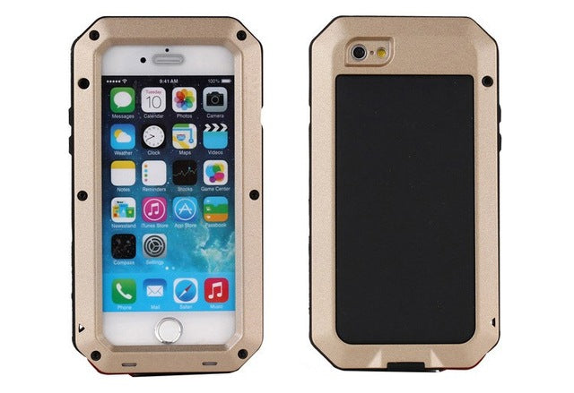 Luxury Doom Armor Dirt Shock Waterproof Metal Aluminum Phone Case For iphone 7 5S 5 SE 4S 5C 6 6S Plus cover+Tempered glass