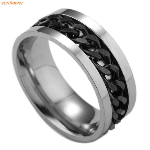 1 Piece Fashion Spinner Black Chain Ring For Men, Titanium Steel Metal Vnox Brand Finger Anel
