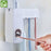 1 Set Creative Automatic Toothpaste Dispenser with Toothbrush Holder Bathroom Water Resistant Sticky Toothpaste Squeezer