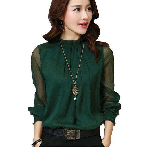 2017 Fashion Spring Autumn Chiffon Blouse New Korean Casual Ruffle Collar Shirt Long Sleeve (Plus Size)