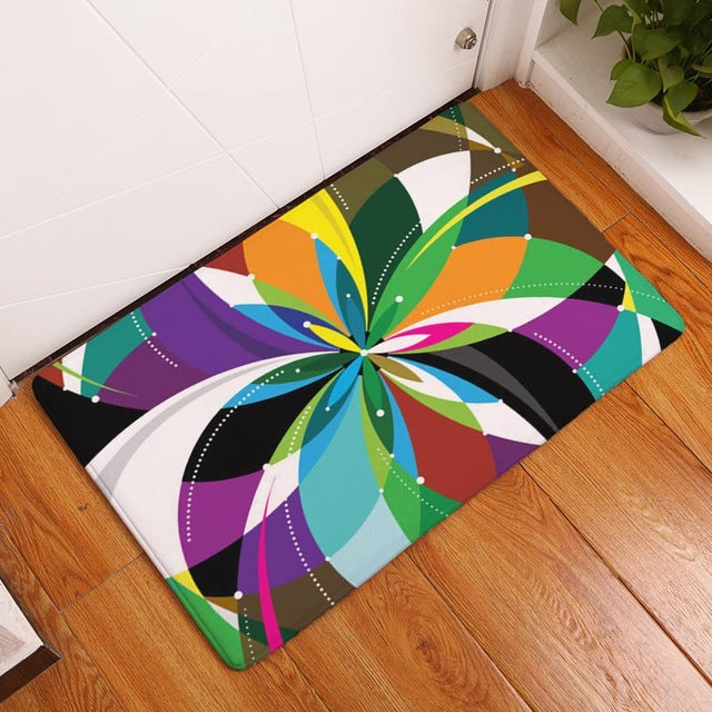 Hyha Abstract Mats 40*60cm Light Flannel Dustproof Colorful Psychedelic Geometry Pattern Door Mats Water Absorption Rugs