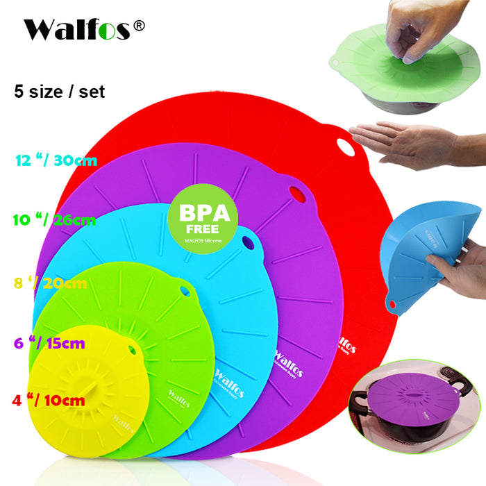 WALFOS Set of 5 Silicone Microwave  Bowl Cover Cooking Pot Pan Lid Cover-Silicone Food Wrap