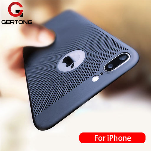 GerTong Ultra Slim Phone Case For iPhone 6 6s 7 8 Plus Hollow Heat Dissipation Cases Hard PC For iPhone 5 5S SE Back Cover Case