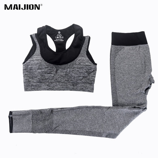 MAIJION 2Pcs Women's Yoga Sets Fitness Sport Bra+Yoga Pants/Leggings Set , Gym Running Sport Suit Set Workout Clothes for Female