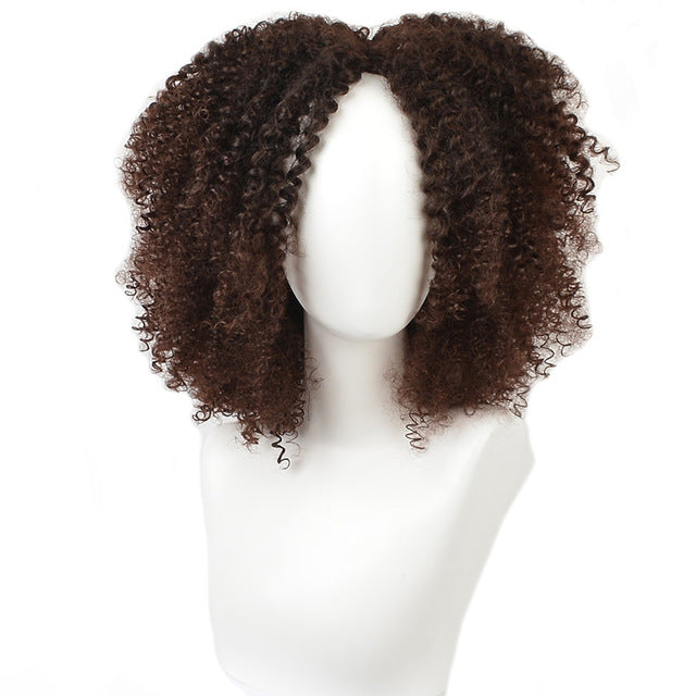 MSIWIGS Brown Synthetic Curly Wigs for Women, Short Afro Wig, Natural, 14Inches, Black Hair,  9 Colors