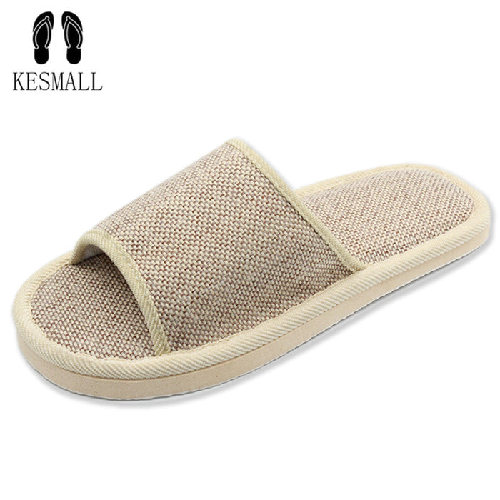 2017 Natural Flax Home Slippers, Indoor Floor Shoes for Women, Silent Sweat Slippers For Summer
