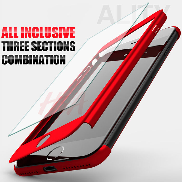 H&A 360 Degree Full Cover Case For iPhone 7 6s 5s 5 SE With Tempered Glass Case cover For iphone 7 6 + Phone Bag